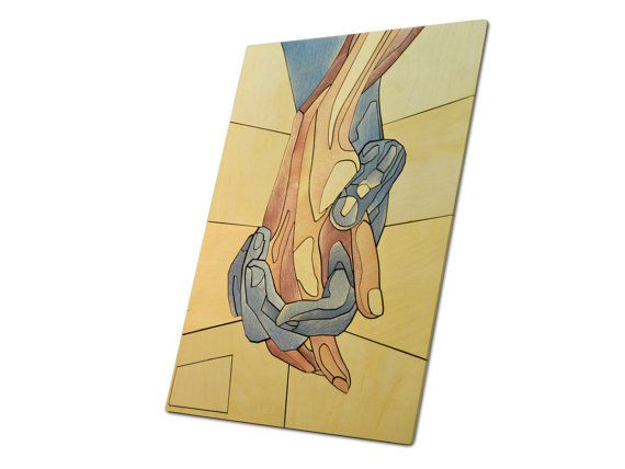 Romantic Hands Wooden Mosaic / Handmade by InspirativeLaser