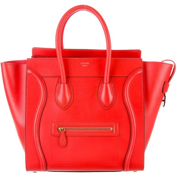 Pre-owned C?line Mini Luggage Tote ($2,450) ❤ liked on Polyvore featuring bags, handbags, tote bags, red, hand bags, zip tote bag, purse tote, zip tote and celine tote bag