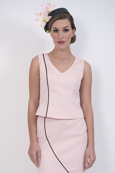 Blush Cami –This is a soft pink cotton pique lined camisole with black asymmetric piping which reflects the design on the matching skirt. Looks great with black microfiber.