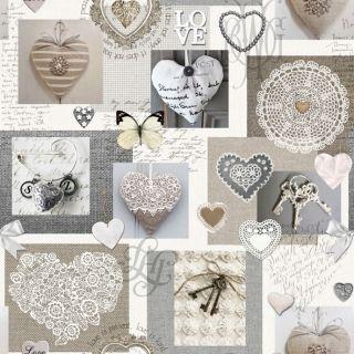 Bavlněná látka Srdce Love De luxe, digitální tisk