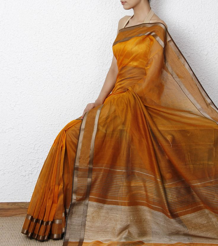 Orange & Silver Cotton Silk Maheshwari Saree