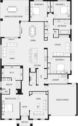 Lincoln, New Home Floor Plans, Interactive House Plans - Metricon Homes - Queensland. i would take off leisure room and bedroom 4. and use living room as a nursery/library instead