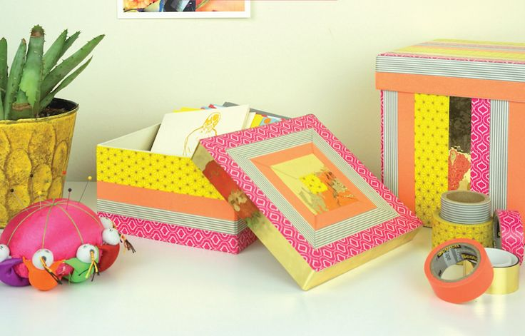 washi tape ideas diy project crates boxes decorate