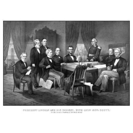 Vintage Civil War print of President Abraham Lincoln and his cabinet Canvas Art - John ParrotStocktrek Images (33 x 25)
