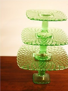Depression Glass Cake Pedestals. My great-grandma gave me the bottom one as a wedding gift.