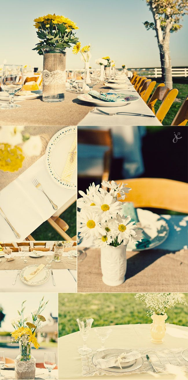 burlap and lace wedding table settings, daisy centerpieces