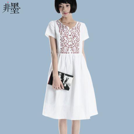 Номера для чернил Q1075 / первоначально вышитые хлопка женские платья 2014 лето новый белый белье юбка литература - Taobao