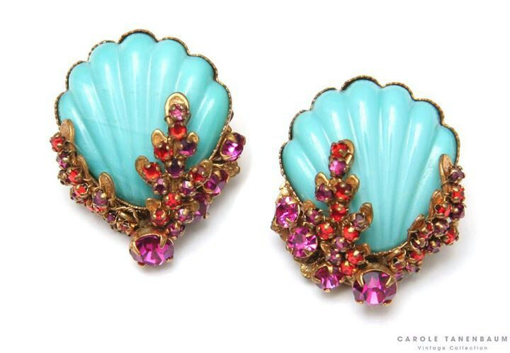 1950s Miriam Haskell turquoise shell earrings