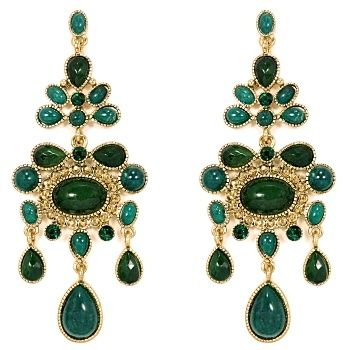 Talullah Tu - Emerald Stone Statement Chandelier Earrings