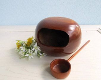 Serving Barware Bowl Orb Sphere Wooden Container With Spoon Ladle 1960