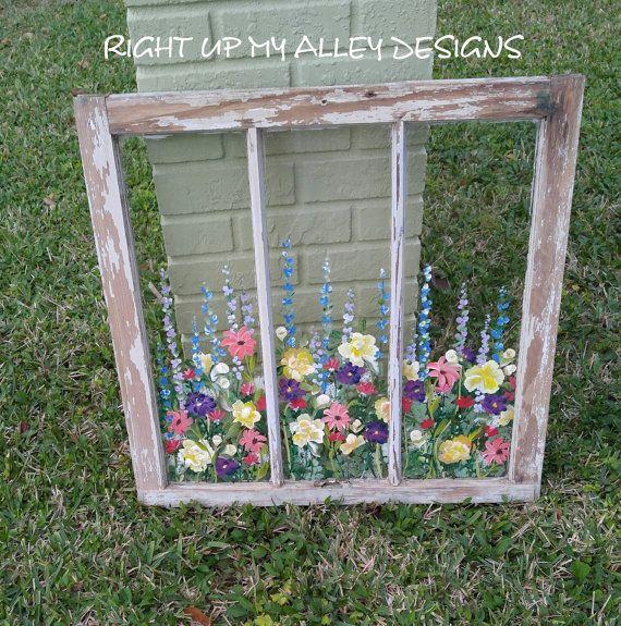 Old painted window,Window art,Custom order window,Wall Art