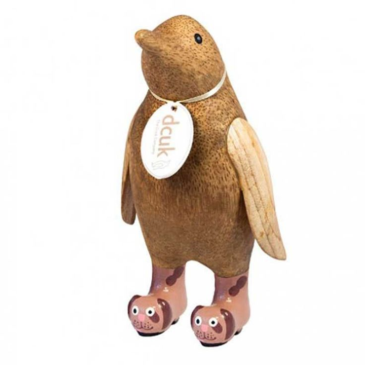 An adorable DCUK small wooden penguin in doggy wellies. Personalise its name tag for a gift. View our wide selection of penguins online.