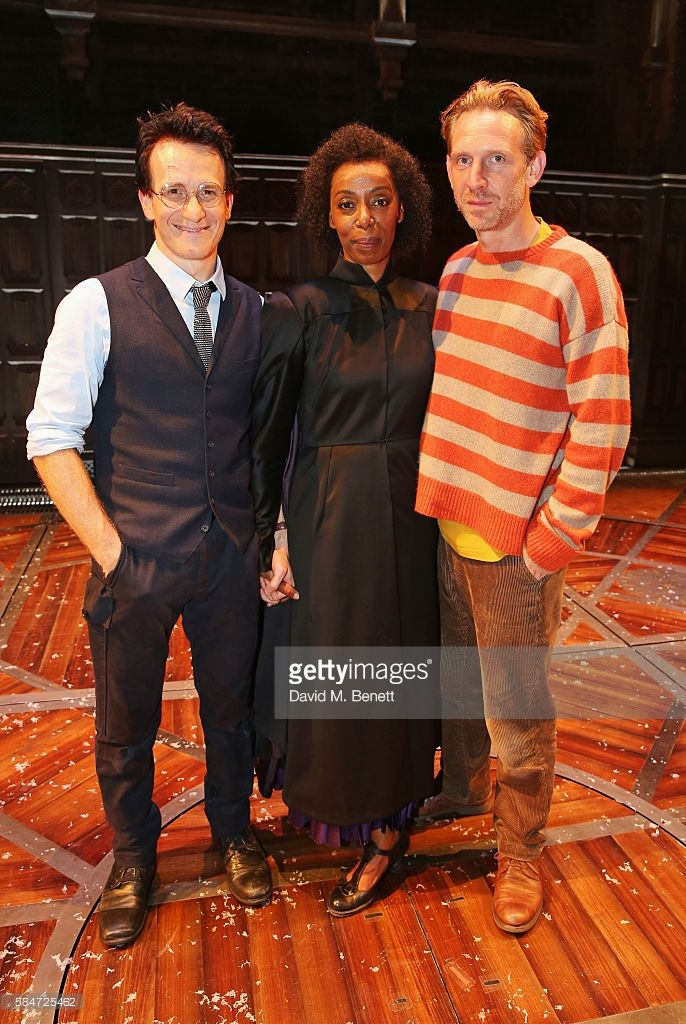 Cast members Jamie Parker, Noma Dumezweni and Paul Thornley pose backstage following the press preview of 'Harry Potter & The Cursed Child' at The Palace Theatre on July 30, 2016 in London, England.