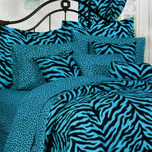 $90.00   I love this zebra print because I love blue and black together also because it would go with my bedroom.