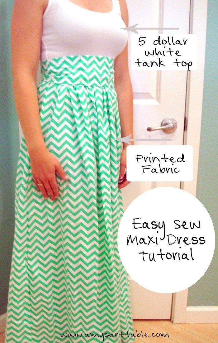 You can sew a simple maxi dress with a white tank top and printed fabric! These …   – Nähen