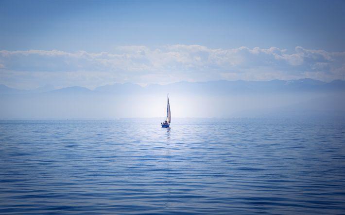 Descargar fondos de pantalla El lago de Constanza, yate, velero, Bodensee, Alemania, de soledad, de conceptos, de la soledad