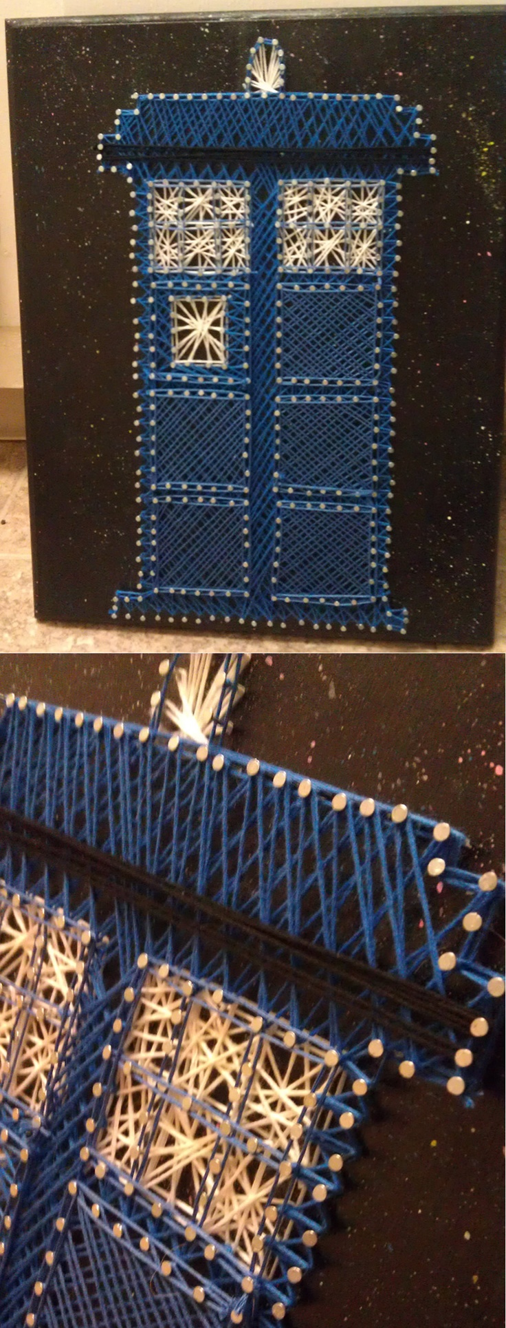 Doctor Who Tardis String Art, by Randi Nentrup.