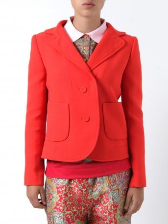 Carven jacket - two-button jacket in coral - grenadine color, two front pockets, fully lined. Carven Spring Summer Collection 2013.    Composition:  60% viscose, 40% wool. Lining: 65% acetate, 35% viscose.