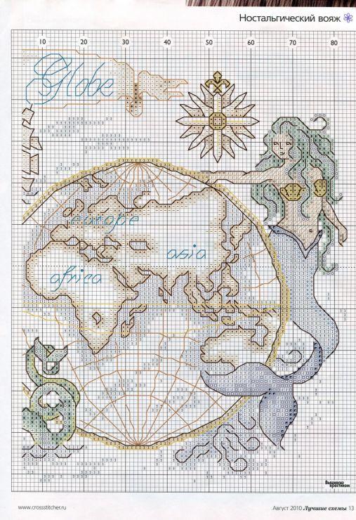Gallery.ru / Фото #13 - 8(09) 10 - logopedd Seafarer's Globe 2 - love thsi cross-stitch pattern, except would trade the mermaid for an elephant :-)