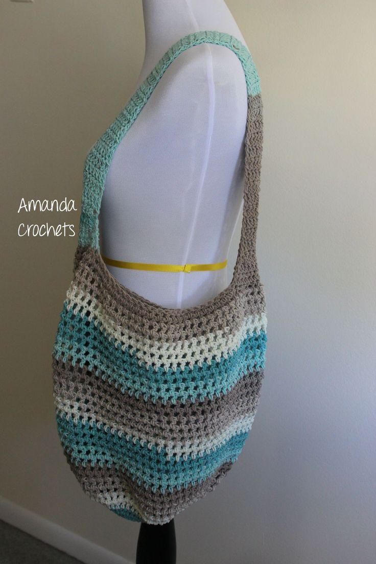 Caron cotton cake market tote bag crochet market bag