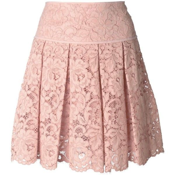 Blush pink cotton blend pleated lace mini skirt from DKNY featuring a high waist, a pleated design, a floral lace pattern, a concealed fastening and a scallope…
