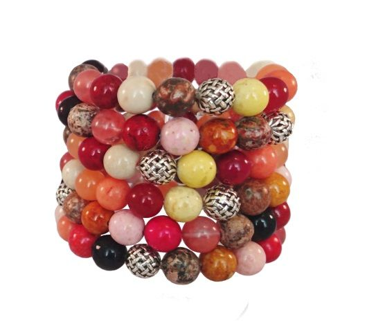Bracelet with different semi-precious stones and a sterling silver bead.