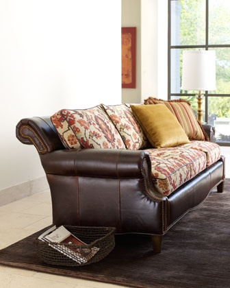 Upholstered leather couch