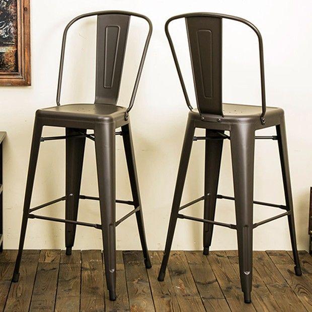 Rustic Farmhouse High Back Bar Stool Set Of 2 High Back Bar Stools Rustic Bar Stools Bar Stools