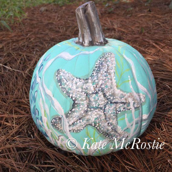 Coastal fall pumpkin  Starfish pumpkin  by KateMcRostieHandmade