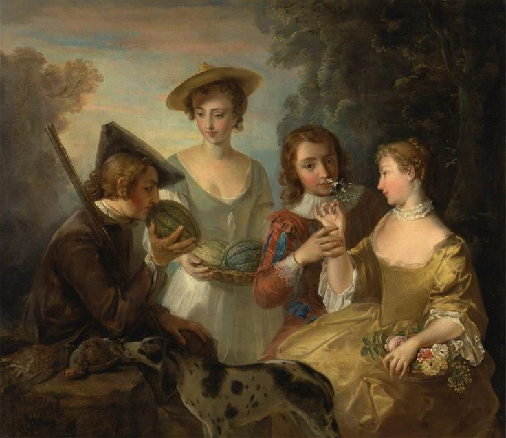 """Philippe Mercier, """"The Sense of Smell,"""" 1744–47, oil on canvas, Yale Center for British Art, Paul Mellon Collection"""