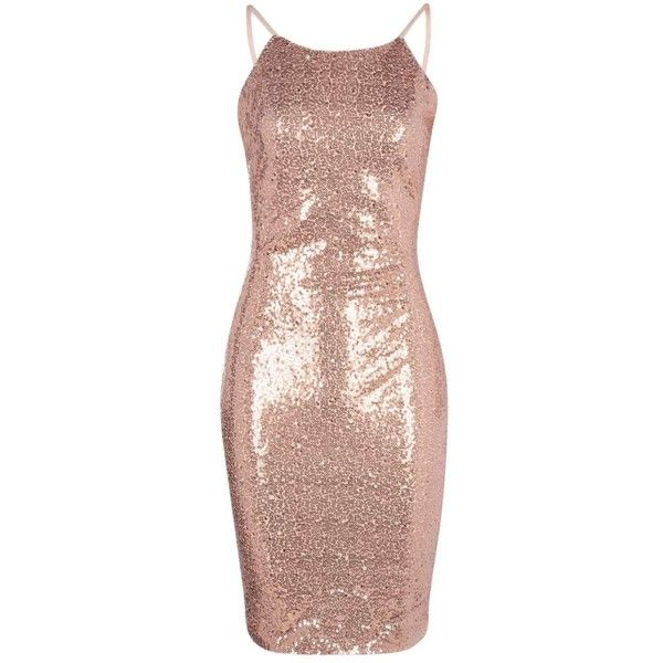 Boohoo Petite Evie Scoop Back Sequin Midi Dress | Boohoo ($44) ❤ liked on Polyvore featuring dresses, mid calf dresses, petite midi dress, pink dress, sequin dresses and pink sequin dress