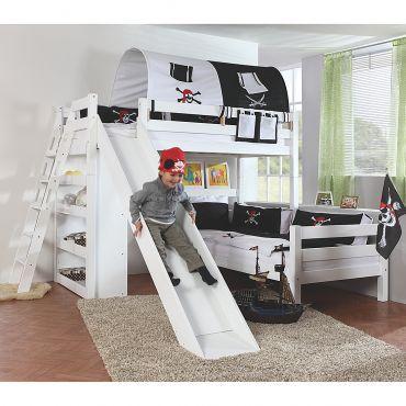 Etagenbett Sky - mit Rutsche, Regal, Tunnel und Tasche - Buche massiv weiß/Textil Pirat