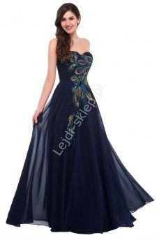 Granatowa szyfonowa suknia z pawimi piórami | granatowe suknie wieczorowe na studniówkę, sylwestra, karnawał