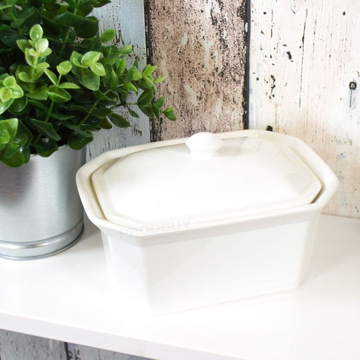Large Terrine Porcelain Butter Dish with Lid Fridge  Serving Bowl Dining Table