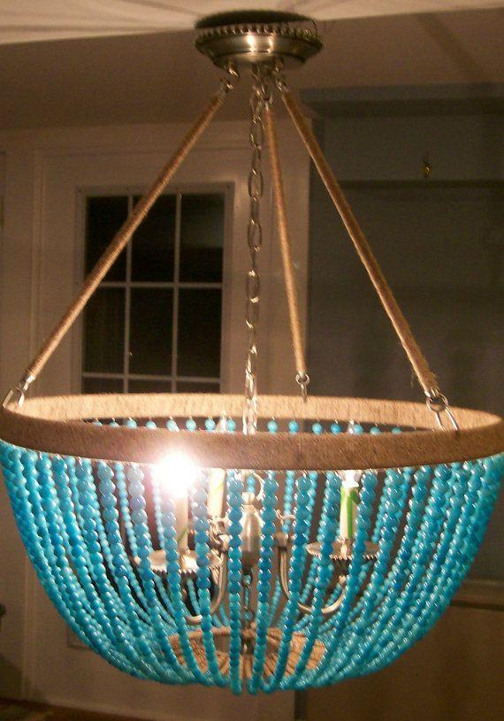 chandelier lighting beaded 3 light chandelier blue jade eco friendly via etsy - Turquoise Chandelier Light