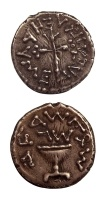 """Ancient coin of the Holy Land. Silver coin from the First Revolt. Chalice with inscriptions on front, the reverse with a stem with pearled bottom and three fruits.  Size: ½""""  Date: 66 - 70 AD"""