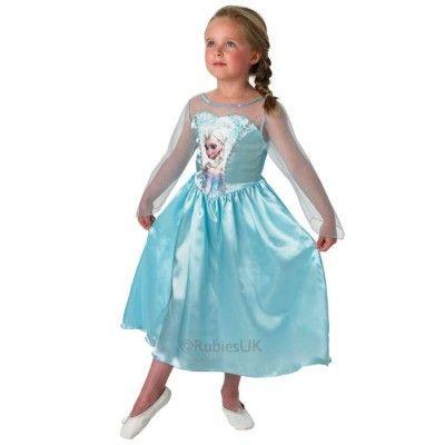 Prachtige lichtblauwe Frozen jurk van Elsa de sneeuwkoningin. Verkrijgbaar in diverse maten.