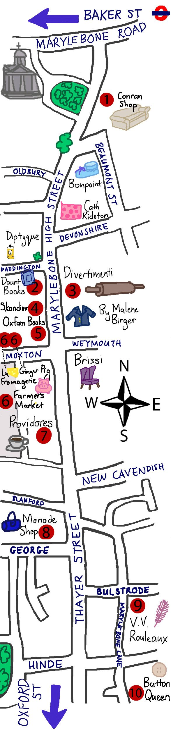 Map of my favorite shops on Marylebone High Street, from Working Girl Press (www.workinggirlpress.com)
