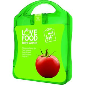 The MyKit Love Food Hate Waste includes 1 x Can Lid, 1 x 12cm Bag Clip, 1 x Tube Squeezer, 1 x Measuring Scoop Set, and 1 Bowl Scraper/Spagh...