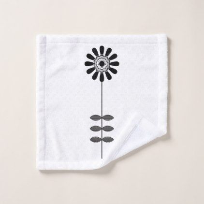 Black White Mid Century Modern Flower 4 Wash Cloth - black gifts unique cool diy customize personalize