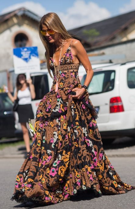 Summer street style inspiration: Anna Dello Russo's Dolce & Gabbana gown was a head-turning tiered creation.