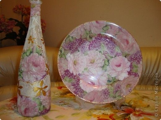 Decoupage - Bottle and Dish