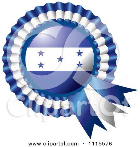 Clipart Shiny Honduras Flag Rosette Bowknots Medal Award - Royalty Free Vector Illustration by MilsiArt