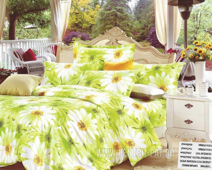 Lenjerie de pat bumbac Pucioasa verde cu musetel