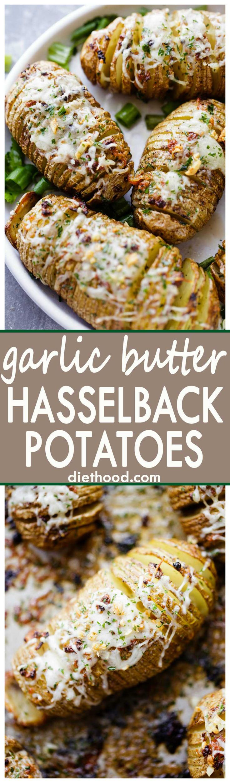 Garlic Butter Hasselback Potatoes - Perfectly tender hasselback potatoes prepared with delicious garlic butter and a sprinkle of cheese.