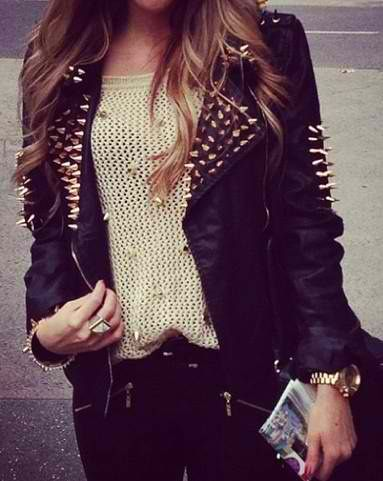 Spiked leather.