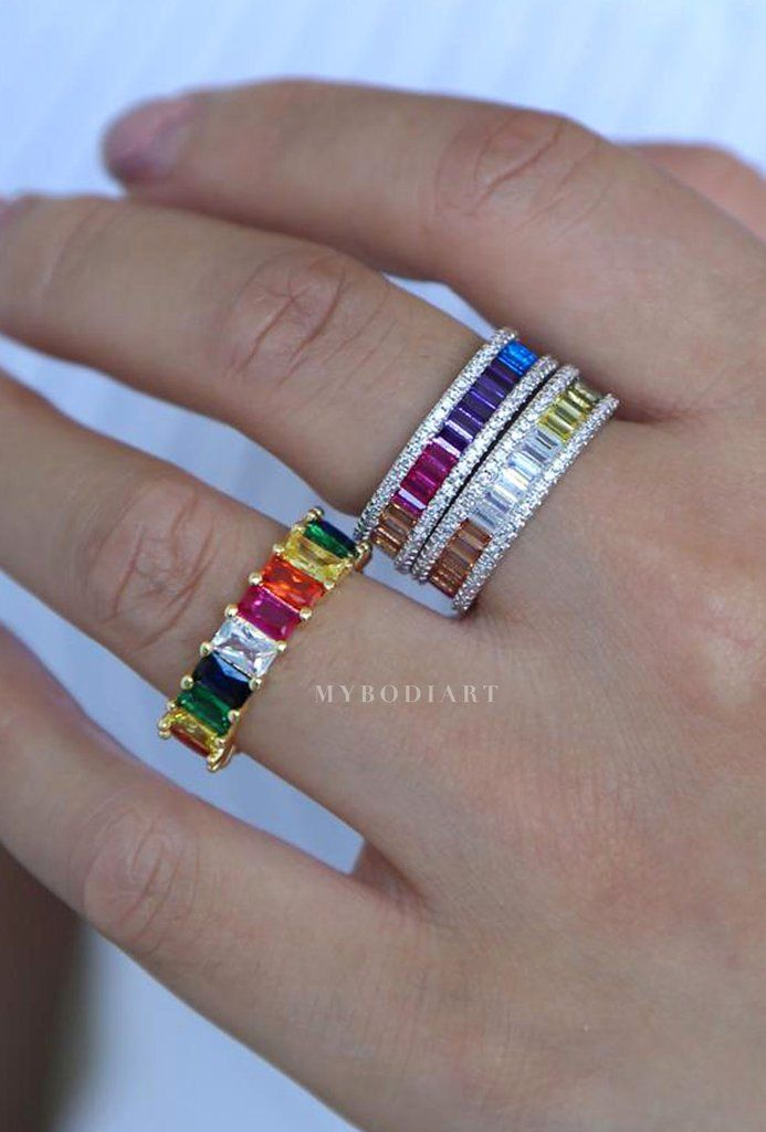 54db40a156d2b Rainbow Baguette Ring - Cute Chunky Gemstone Crystal Stone Pave ...