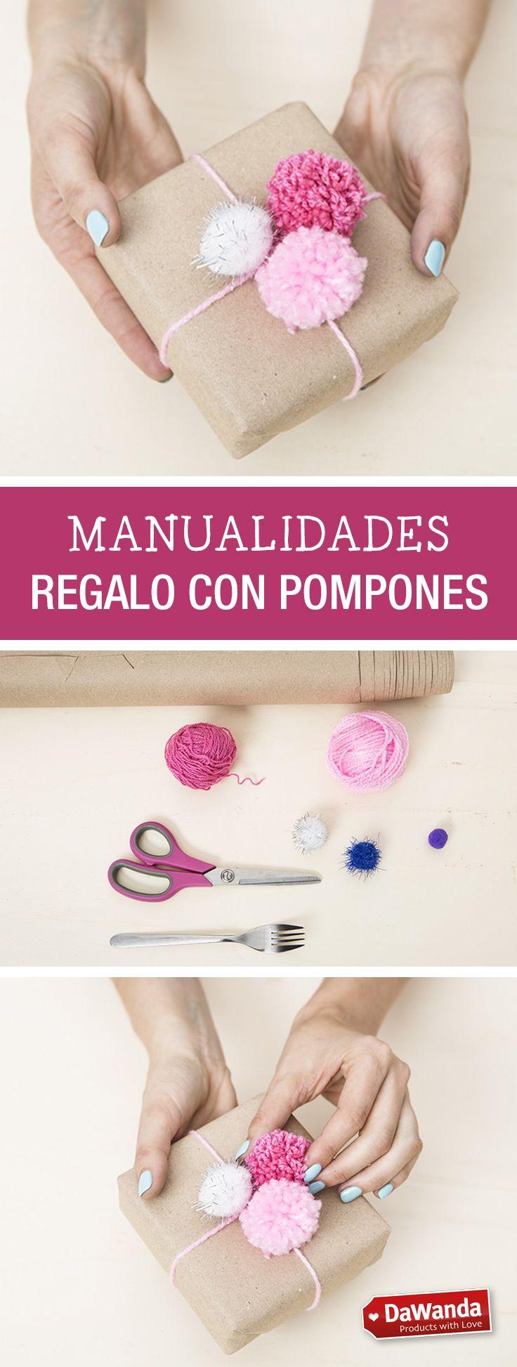 Tutorial DIY - CÓMO ENVOLVER REGALOS CON POMPONES en DaWanda.es