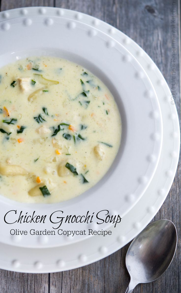 Chicken Gnocchi Soup Olive Garden Copycat | Carrie's Experimental Kitchen #soup #copycat made 11-15 fine made 1/2 the recipe like the other one better. Sf