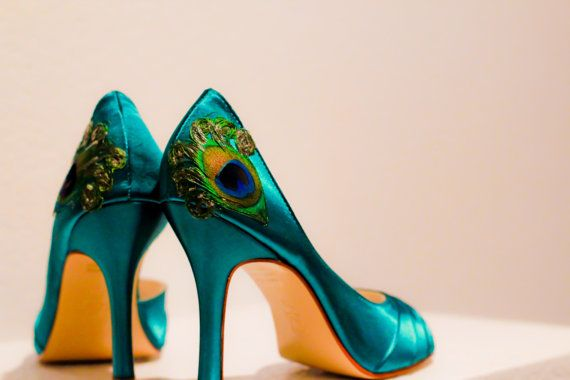 Teal Satin Pleated Peep Toe Peacock Pumps ... ANY by LaPlumeEthere